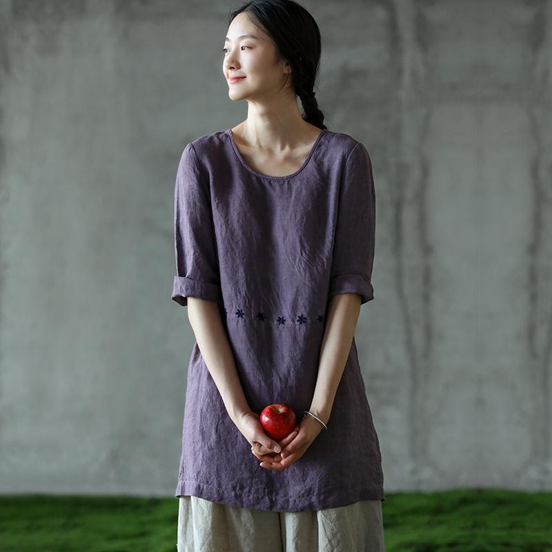 牧衣原创设计女装汉麻棉麻中款连衣裙刺绣绣花中式袍子  灰先生