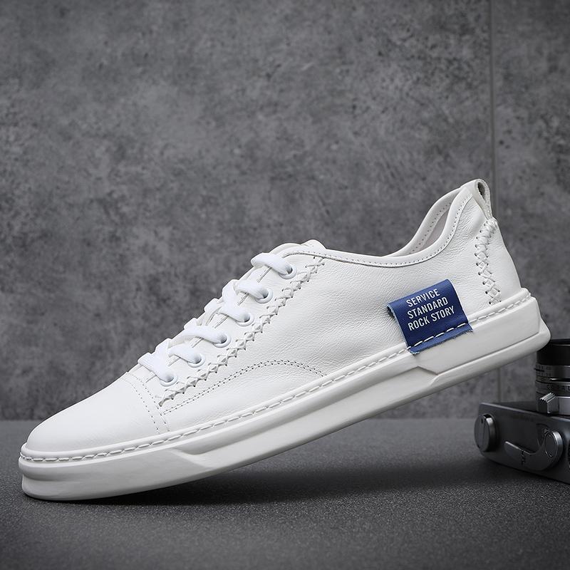 2020新款男鞋夏季透气真皮小白鞋男韩版潮流百搭休闲鞋男士板鞋子