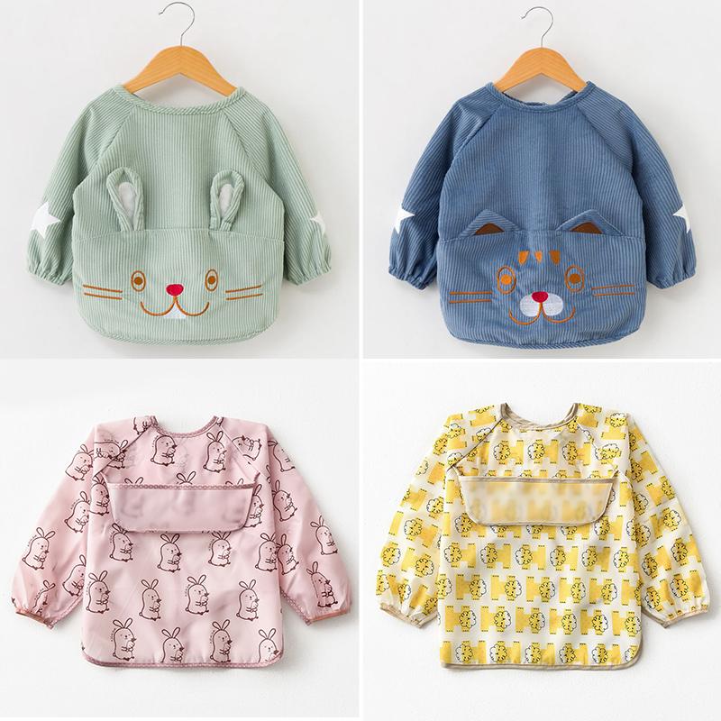 儿童罩衣防水长袖反穿衣宝宝防脏饭兜衣小孩男女围裙罩衫婴儿护衣