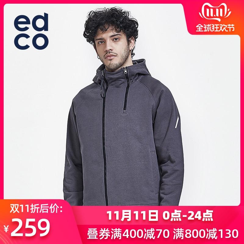 EDCO艾德克 户外男士潮流套头卫衣休闲宽松外套纯棉洗水嘻哈风