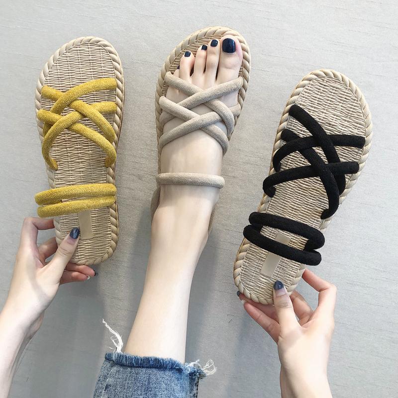 凉鞋女2019新款百搭晚晚鞋仙女风学生两穿网红ins潮配裙子的凉鞋