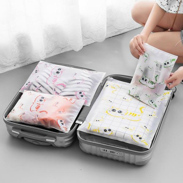 旅行衣服衣物收纳袋防水可爱透明整理密封袋套装行李箱分装打包袋