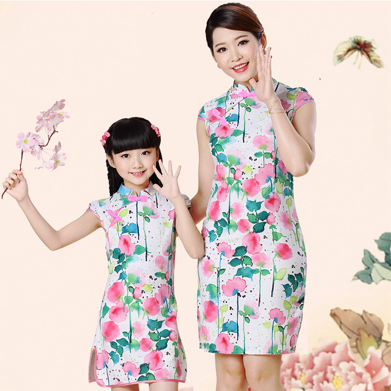 Girls' cheongsam in Tang Dynasty baby's cotton and hemp cheongsam children's clothing Chinese style mother daughter parent-child clothing summer children's performance clothing