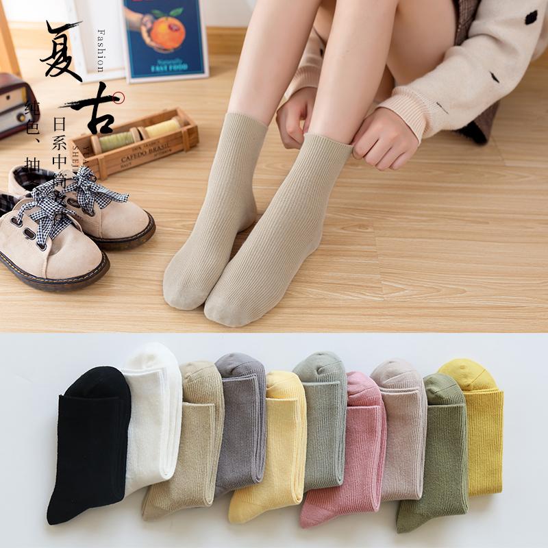 袜子女棉袜女士中筒袜韩国可爱秋冬日系学院风女袜子百搭网红长袜