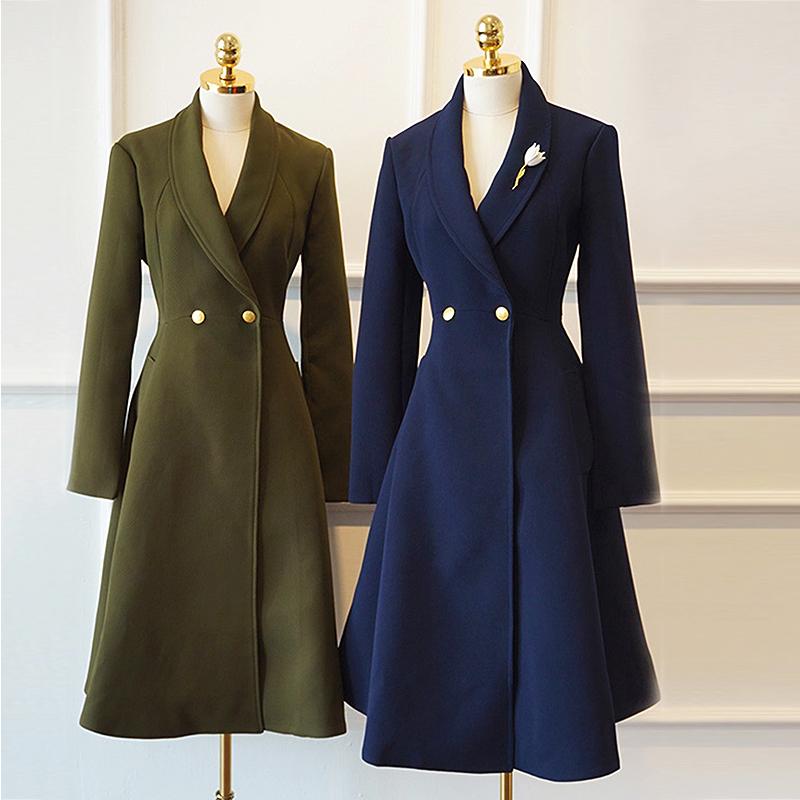 呢子中长款赫本大衣女复古收腰裙摆修身显瘦外