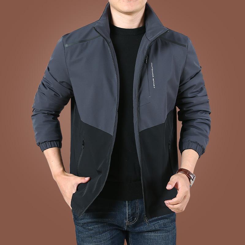 男士加绒外套秋冬季2021新款休闲夹克男衣服男装秋装上衣宽松加厚