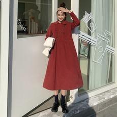 韩版复古娃娃领灯芯绒大摆裙女中长款连衣裙秋冬2019新款红色裙子