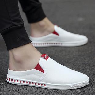 帆布鞋夏季2018新款透气韩版休闲百搭一脚蹬潮流小白布鞋懒人男鞋