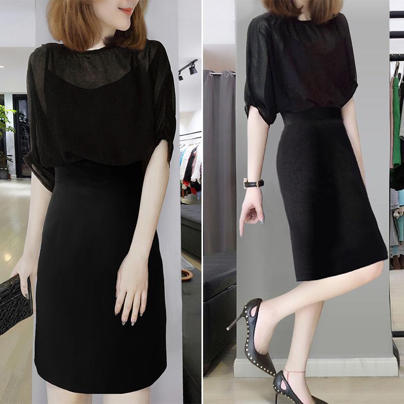 时尚黑色女神范中长款拼接收腰连衣裙欧洲站夏季女装2020新款欧货满100元减20元