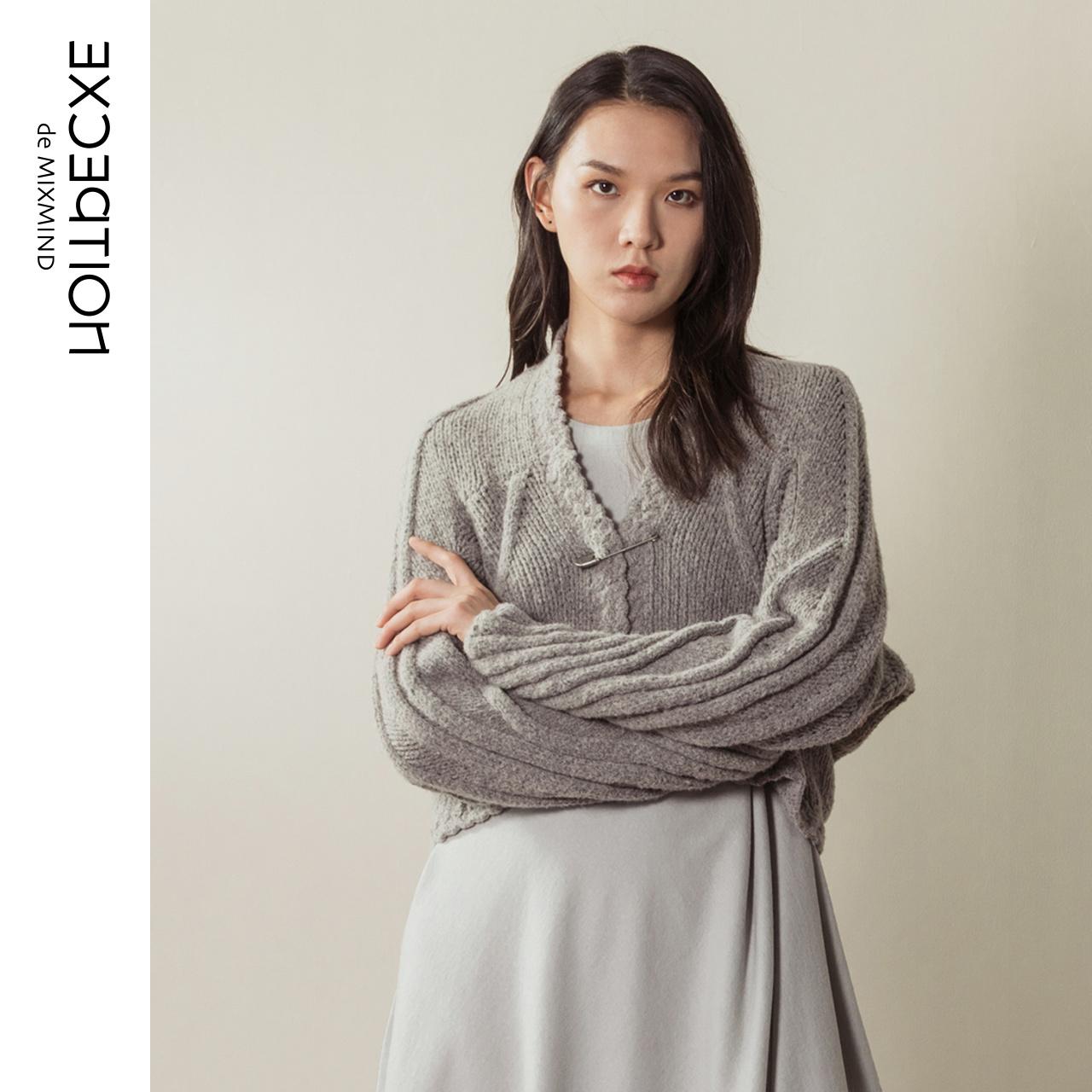 【天猫独家】EXCEPTION例外女装2019新款手钩花纹羊毛混纺针织衫