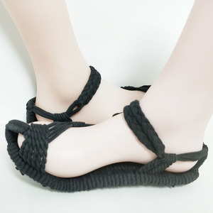 All black cloth shoes handmade woven cloth straw men's casual breathable non-slip flat women's shoes popular men's shoes sandals