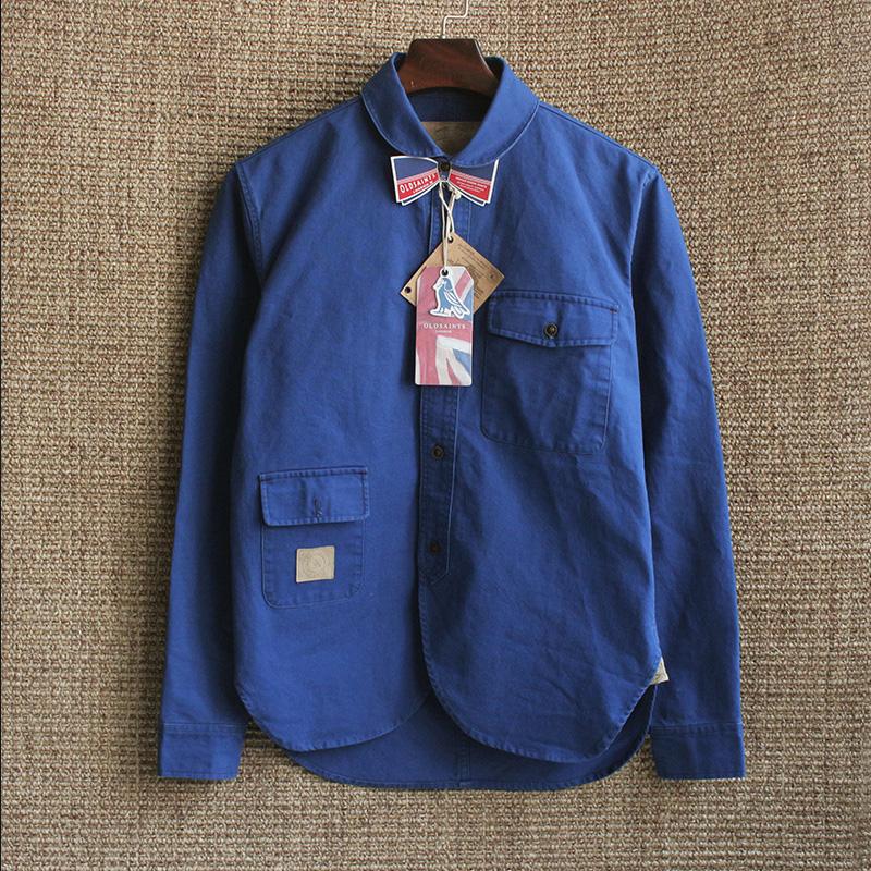 阿美咔叽工装衬衫男潮牌长袖外穿美式复古纯棉厚牛仔衬衣中性外套