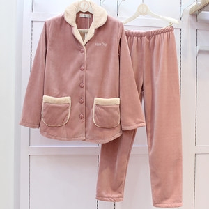 佰伦世家珊瑚绒睡衣女加厚秋冬季纯色复合绒高品质加绒家居服套装