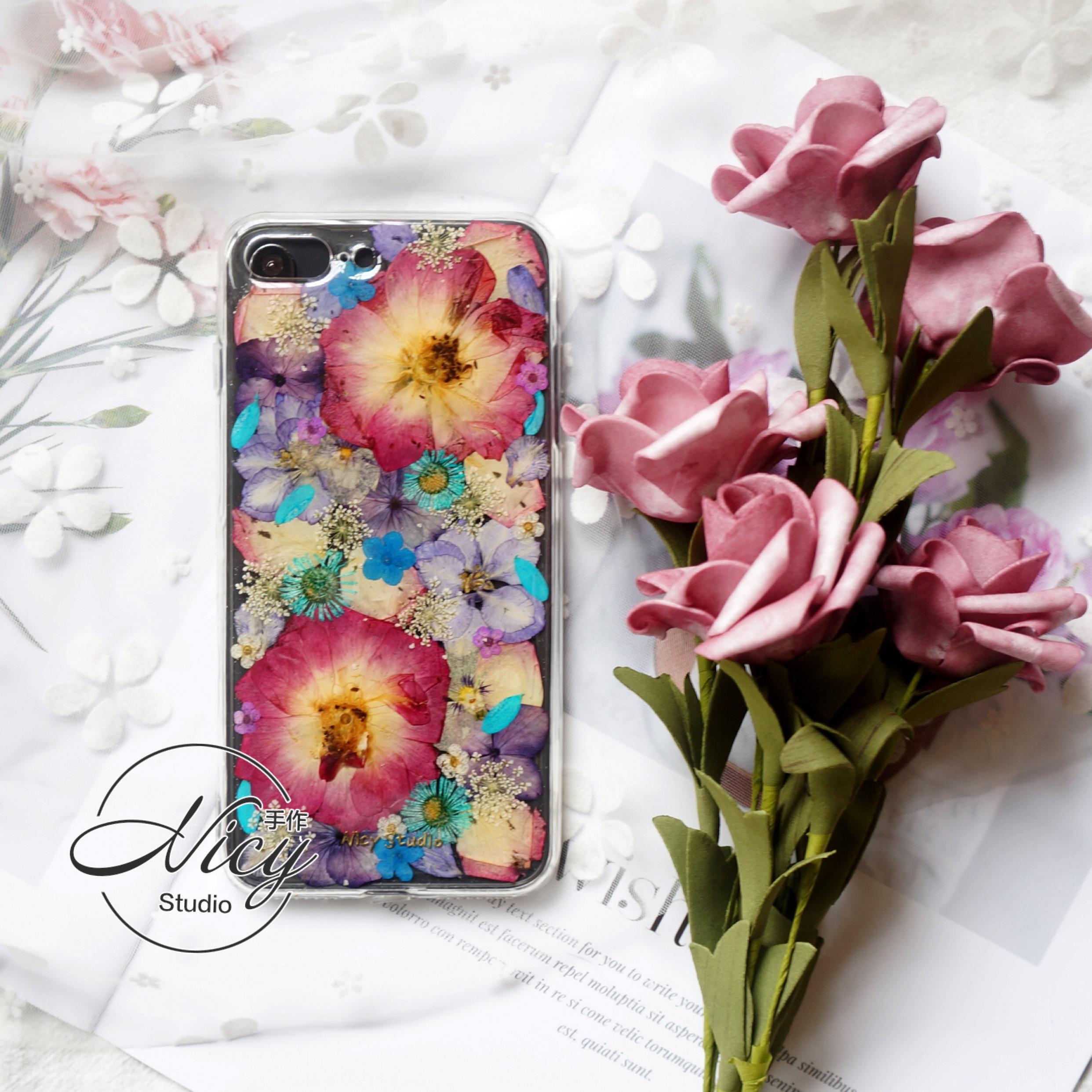 干花玫瑰标本复古紫硅胶手机壳定制母亲礼物套适用于苹果华为vivo