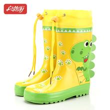 儿童雨鞋1r1胶男童女1q车恐龙收口防滑高筒加棉宝宝水鞋雨靴