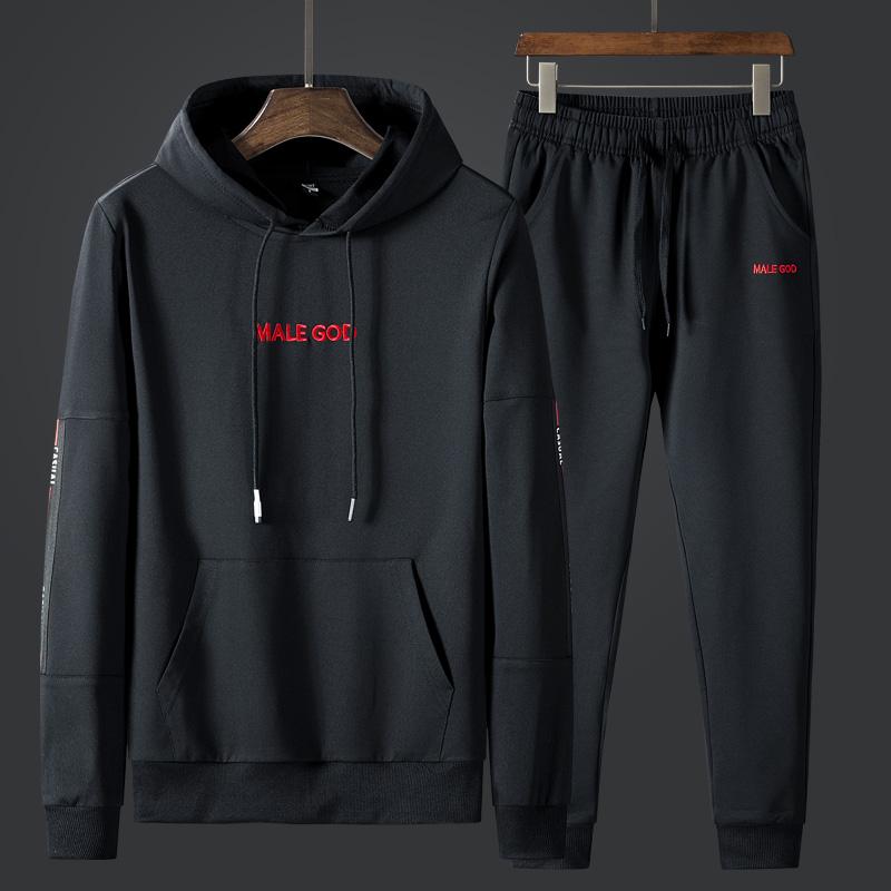 2019春季新款套头卫衣男连帽韩版潮流休闲运动套装男士潮牌两件套