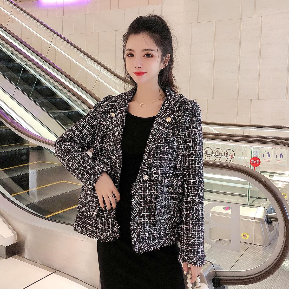 6559实拍现货小香风粗花呢短外套女秋装新款韩版网红小西装外套 -