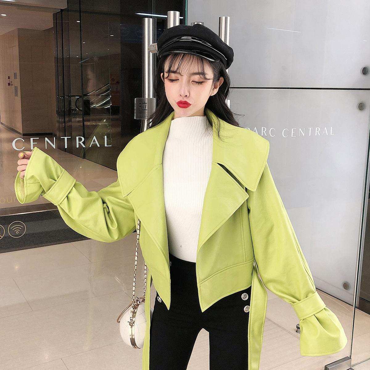 秋冬新款韩版短款皮外套女2019新款女装韩版BF机车皮衣小外套 -