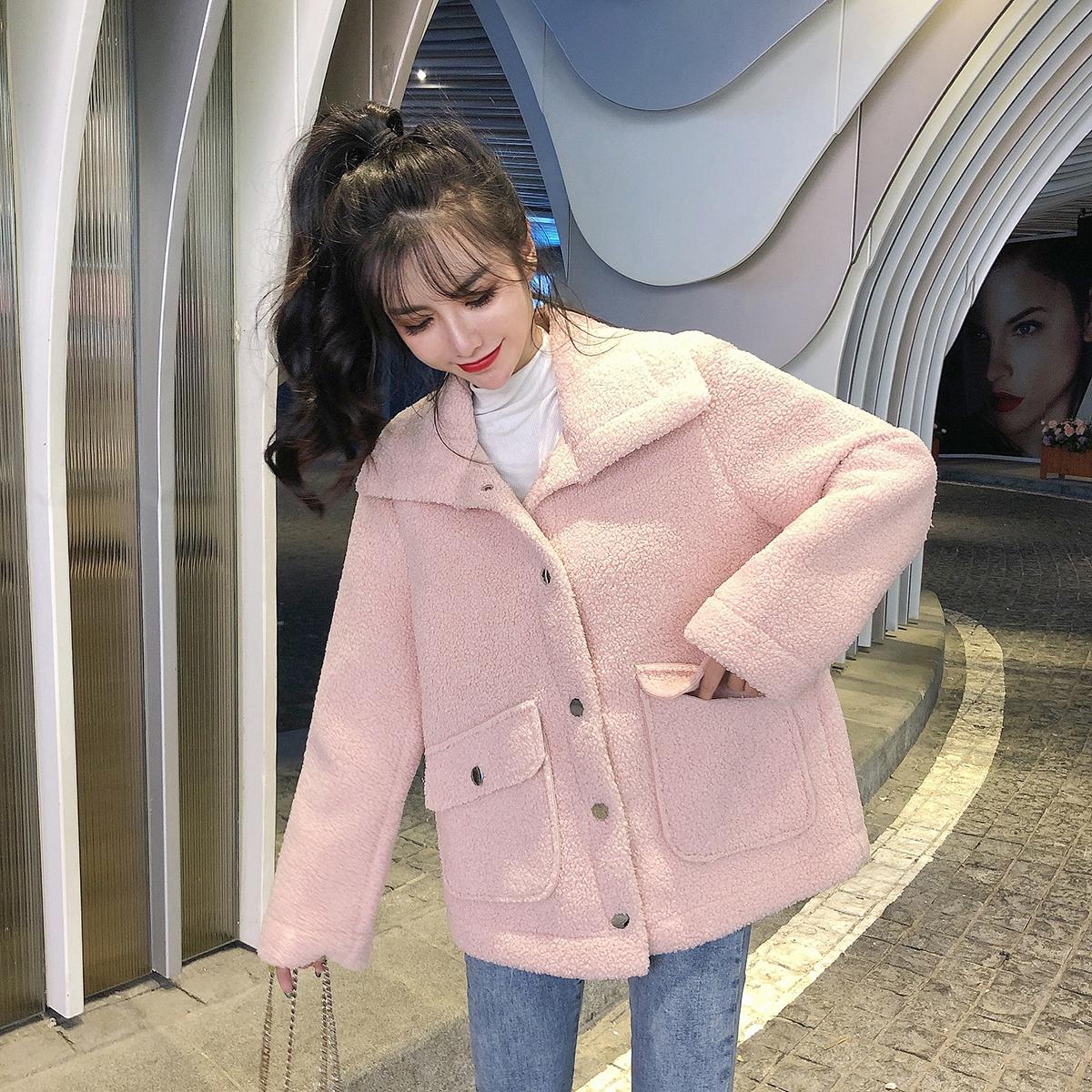 实拍现货新款羊毛外套女短款皮毛一体羊剪绒仿皮草外套开衫秋冬 -