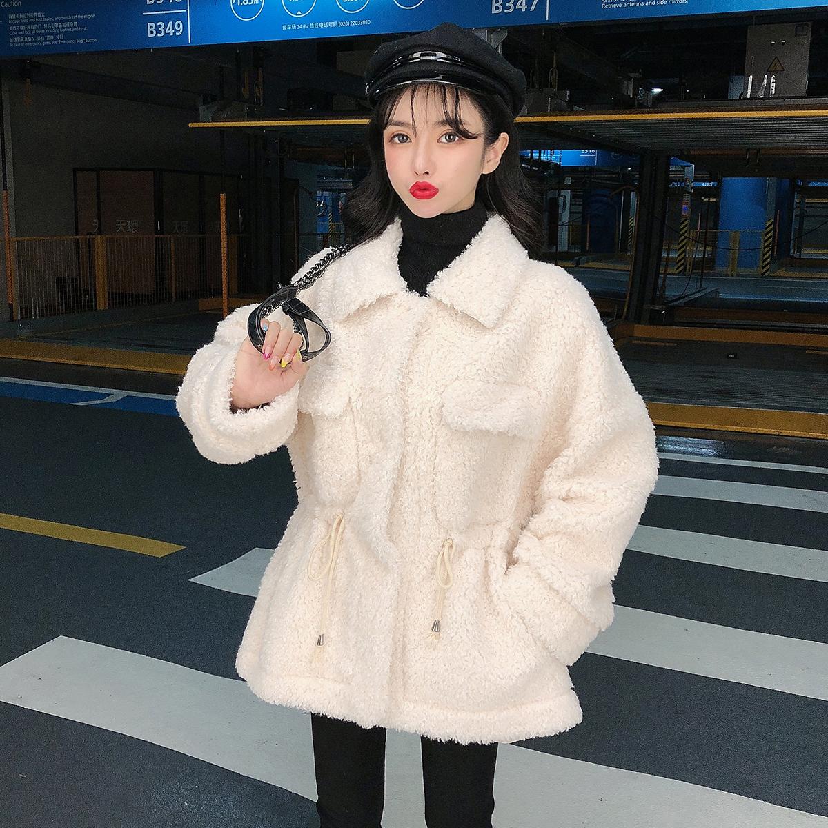 实拍现货新款羊剪绒大衣女翻领韩版宽松复合皮毛一体皮草外套女 -