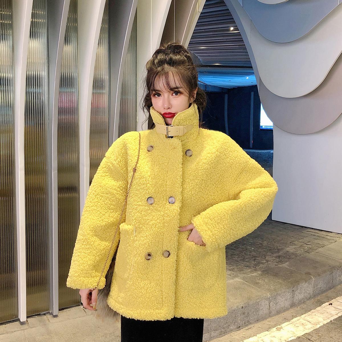 实拍现货冬季新款加厚羊羔毛外套女皮毛一体棉服大衣保暖短款上衣 -