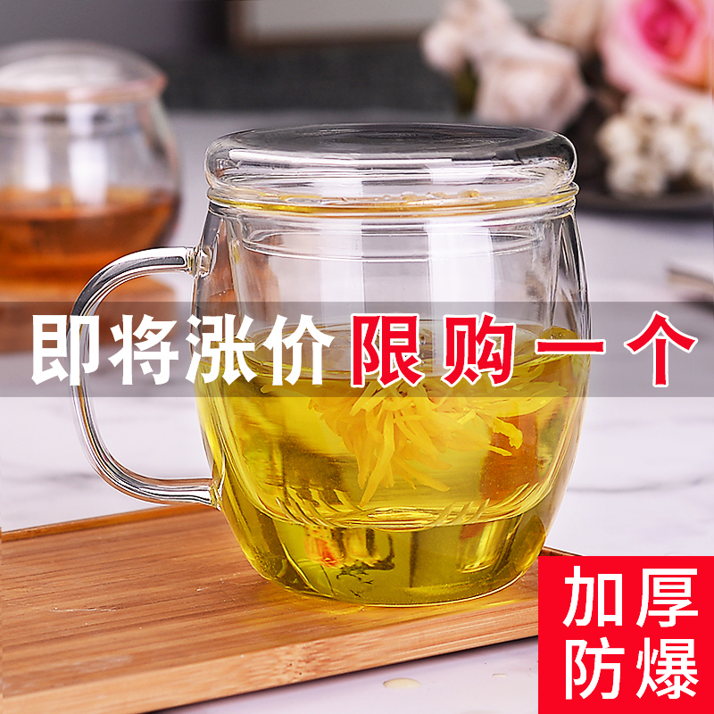 玻璃杯过滤泡花茶杯家用带盖带把茶水分离男女办公透明茶杯水杯子