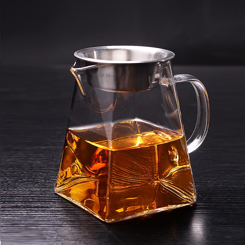 公道杯茶海茶漏套装加厚耐高温玻璃茶具配件分茶器不锈钢滤网公杯