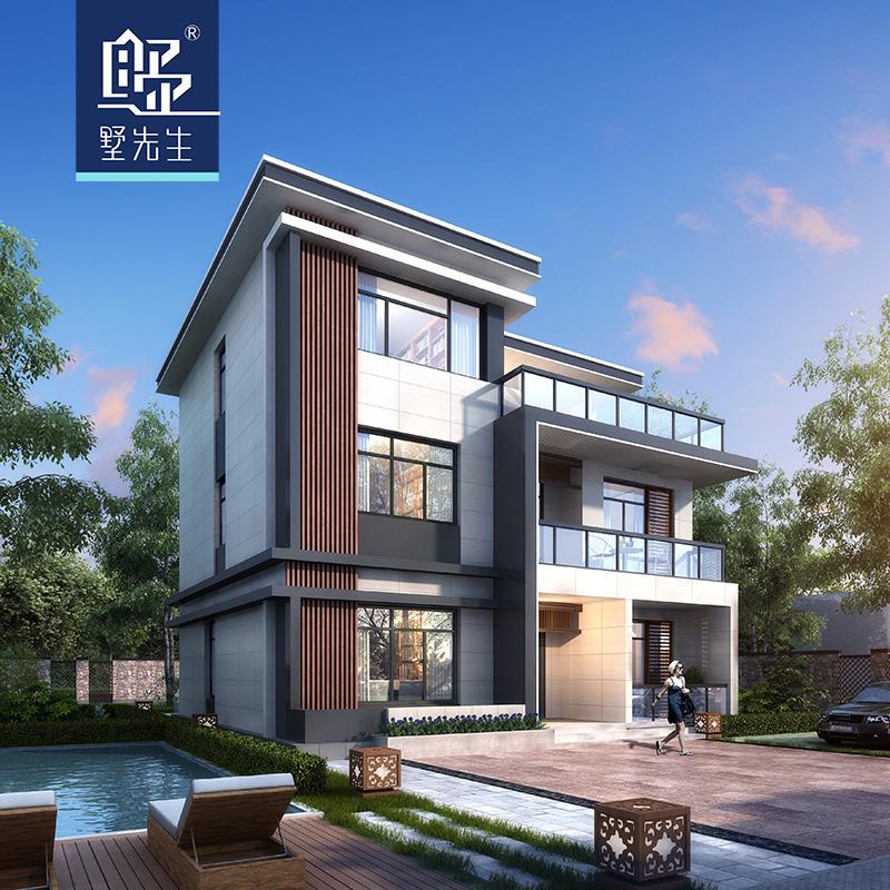 墅先生125平现代农村别墅设计图纸3三层经济型乡村盖房自建房施工
