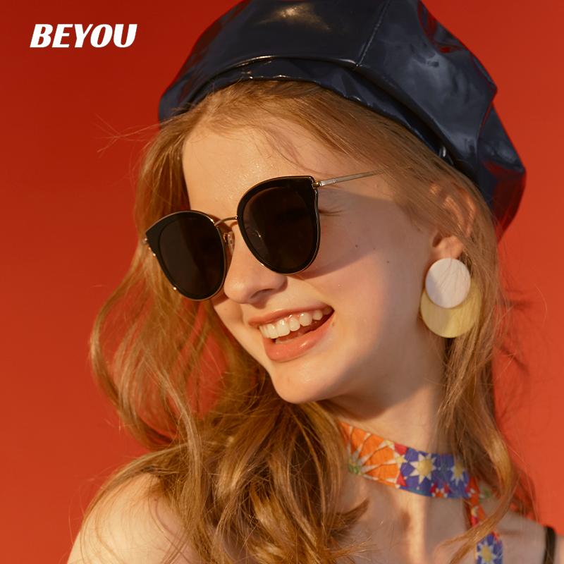 beyou 防紫外线太阳镜2020新款韩版潮女复古圆脸显瘦偏光猫眼墨镜