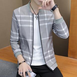 男士外套秋季2019新款男装夹克韩版修身立领褂子潮流帅气薄款衣服