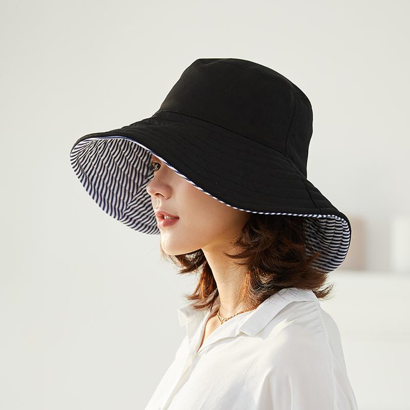 黑色渔夫帽女夏季遮阳帽女防晒帽太阳帽韩版潮百搭日系紫外线帽子