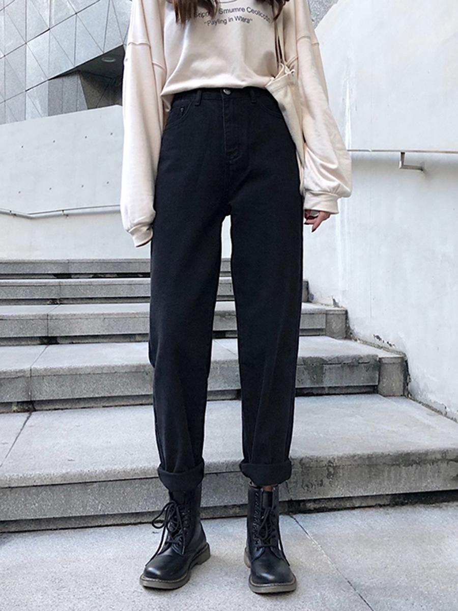 大码女装秋装胖妹妹mm牛仔裤女高腰宽松黑色烟管直筒裤显瘦裤子潮