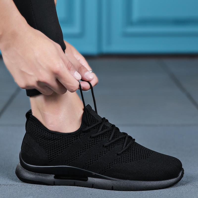夏季黑色网鞋男士运动休闲跑步潮鞋网面男鞋帆布板鞋透气布鞋子男