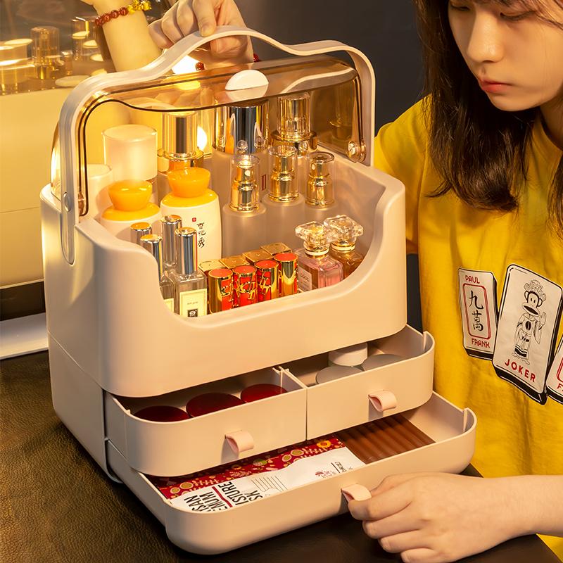 化妆品收纳盒防尘有盖抽屉式口红盒子桌面宿舍用面膜护肤品置物架