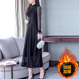 贵夫人台湾网纱连衣裙新款北欧风品牌蕾丝高端洋气中老年女装典雅