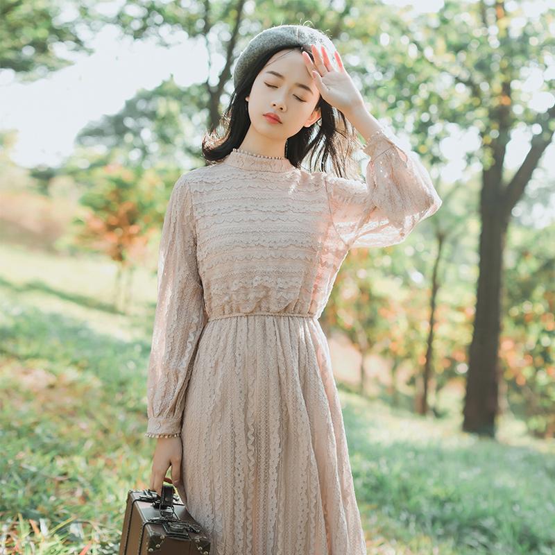 蕾丝内搭打底长袖连衣裙女秋冬季2019新款长袖裙子配大衣的长裙子