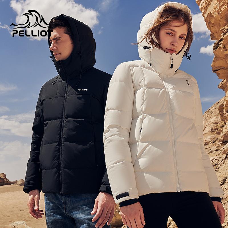 伯希和羽绒服男女2019新款加厚保暖短款羽绒衣白鸭绒户外连帽外套