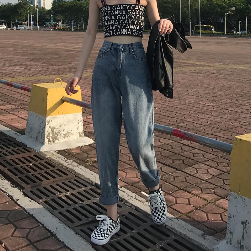 牛仔裤女高腰宽松初恋学生阔腿复古港味chic九分直筒萝卜老爹裤子