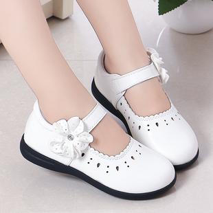 女童皮鞋春秋2019新款韩版公主镂空软底黑色儿童演出白色小皮鞋子