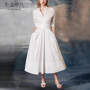 无法平凡高端定制OL职场范高级定制气质白色束腰修身连衣裙女装图片
