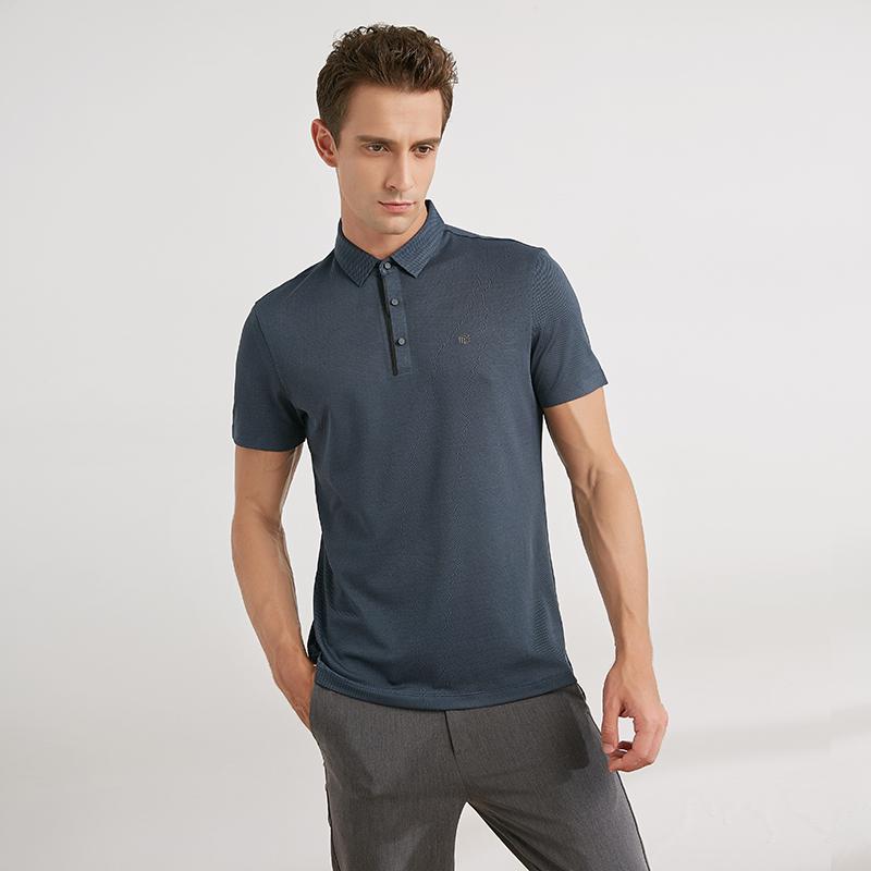 高端韩国面料 吸湿速干无缝压胶门襟透气针织翻领短袖T恤POLO衫男