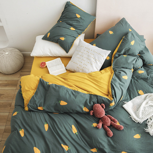 ins wind-knitted geranium four-piece bed 笠 type A cotton Nordic Japanese-style naked sleeping quilt 1.8m bed cartoon