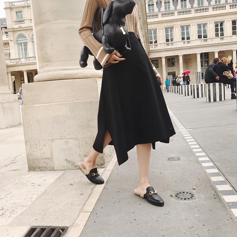 于momo2017秋冬新款中长款高腰针织半身裙复古时尚不规则a字裙子