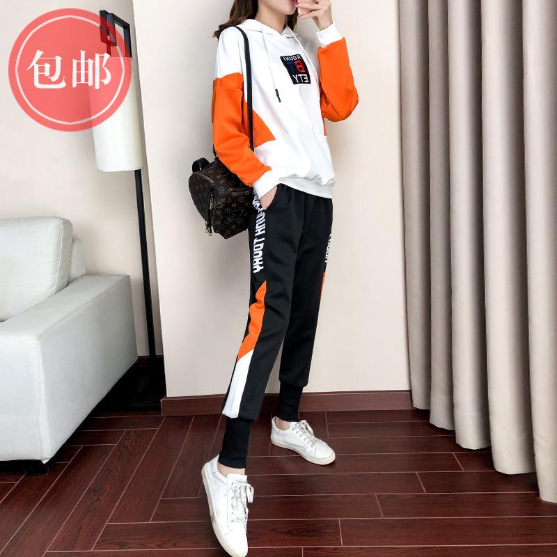 嘻哈时尚套装女潮2019秋冬新款帅气洋气休闲运动鬼步舞长袖两件套