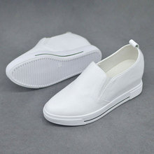 真皮内增高(小)白鞋女qw6季新款懒kg女鞋白色套脚休闲坡跟百搭