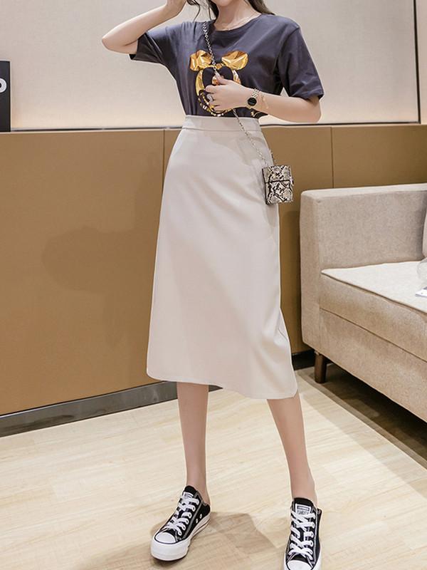 点击查看商品:紫色半身裙女2020夏季短裙显瘦a字中长高腰长裙开叉一步包臀裙