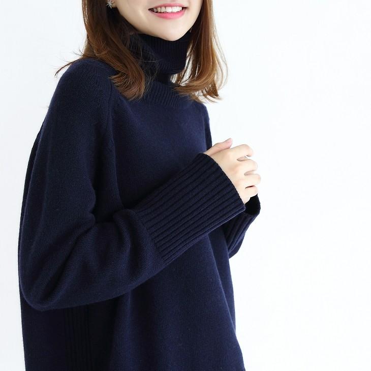 欧洲站新款慵懒加厚羊绒衫女高领宽松短款套头毛衣显瘦