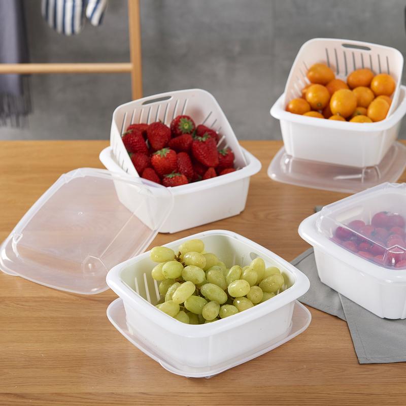 双层水果盘沥水篮家用厨房带盖冰箱收纳盒密封保鲜盒塑料大洗菜盆