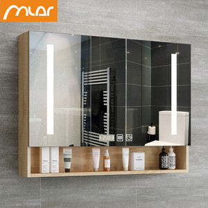 Nordic smart mirror cabinet wall-mounted bathroom with LED light Bluetooth music time anti-fog dressing bathroom cabinet