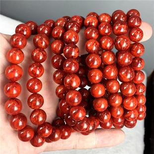 南红玛瑙四川凉山九口料柿子红玫瑰火焰单圈手串手链一物一图证书图片